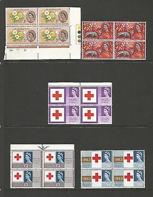 Red Cross and Nature MNH blocks of four GB stamp sets 1963