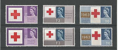 Red Cross phosphor and ordinary GB Mint stamp sets 1963
