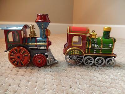 Hallmark Vintage Tin Locomotive Ornaments 1982 & 1983 - 1st Two in Series