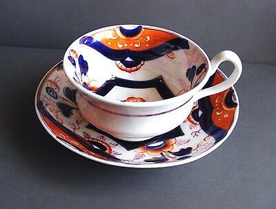 Striking GAUDY WELSH Style Cup & Saucer with Bold Imari Iron Red / Blue Colours