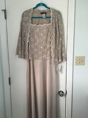 Brand New-Mother Of The Bride Groom Sequin A-Line Jacket Long Dress Size 16