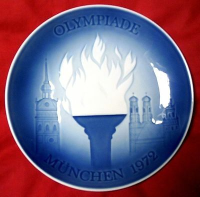 Orig.porcelaine plate   XX.Olympic Games MÜNCHEN 1972 - THE OLYMPIC FLAME ! RARE