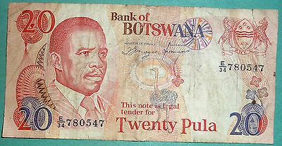 BOTSWANA 20 PULA RARE  NOTE FROM 1982, P 10 d, SIGNATURE 6 a, PRINTER - TDLR