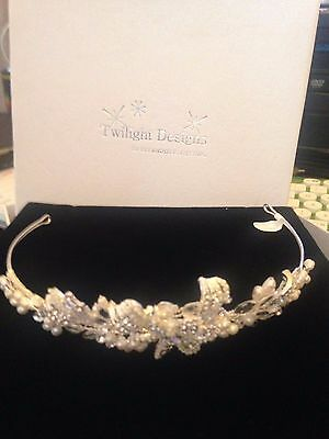 Twilight Designs Wedding Diamante And Pearl Tiara Headband Communion Bnib £75