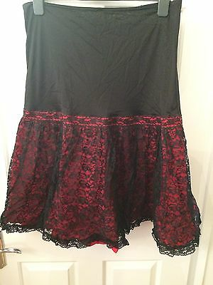 Vintage Red petticoat with Black lace overlay. Size 14