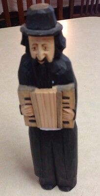 """Religious Jewish Man Rabbi Playing Accordion Figure Carved Wood Painted 10"""""""