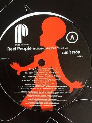 """Papa Records Reel People Feat Angela Johnson Can't Stop 12"""" Dance Funky Soulful"""