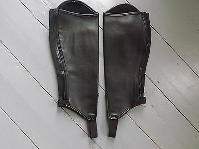 Black Chaps/Adult synthetic Gaiters - size large - Shires