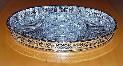 Oval Silver plate gallery serving tray with crystal glass inserts 1970
