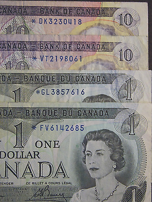 1971 (2) $10 and 1973 (2) $1 replacement notes bank of canada