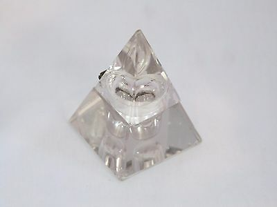 Antique Cut Glass Pyramid Inkwell, Metal Hinge Ink Well