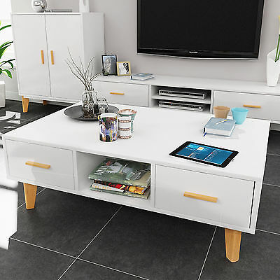 High Gloss Wooden Leg Coffee Side Table With Storage Drawer Livingroom Furniture
