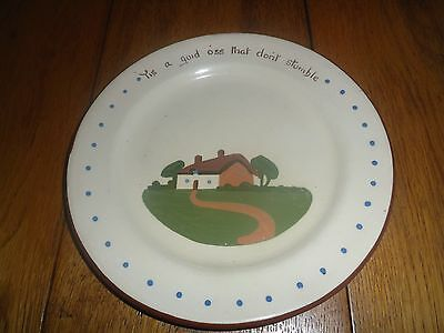 """Dartmouth Pottery,hand made Plate """"Tis a guid oss that don't stumble"""""""