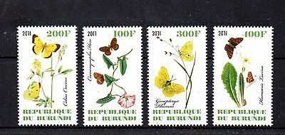 set of 4 mint butterly anf flower themed stamps