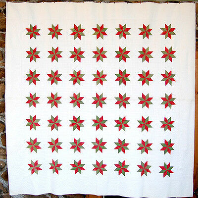 Antique Quilt Red & Green Calico  1860 - 1880 Lemoyne Star  Lancaster PA