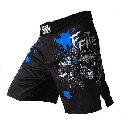 MMA Shorts Grappling UFC Kick Boxing Mens Short Muay Thai Fight Gym Blue
