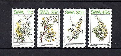 set of 4 mint flower themed stamps from south west africa