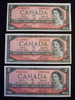 1954 $2 bank of canada lot of 3
