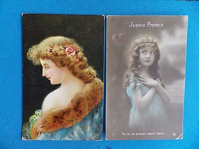 10 Old Postcards 'beautiful Woman Of The Past'