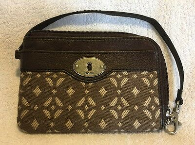 Fossil zip around brown leather and textile purse with strap BNWOT