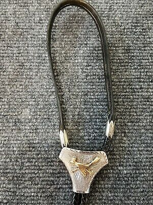 Vintage Men's Leather Bolo Tie w/ 10K Gold Road Runner SIGNED PIECE FREE SHIPPIN
