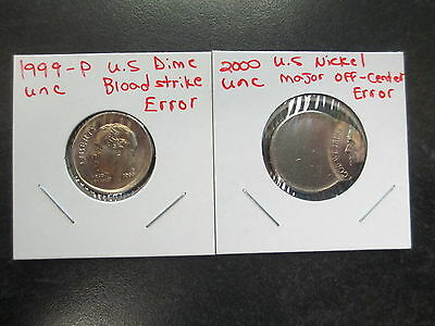 2 United States Error Coin Lot Off Center Broadstrike Dime And Nickel 1999-2000