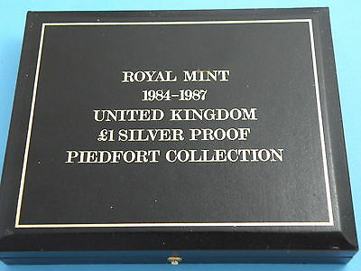 1984 -1987 PIEDFORT SILVER PROOF ONE POUND £1 COIN COLLECTION - £240 Book Value