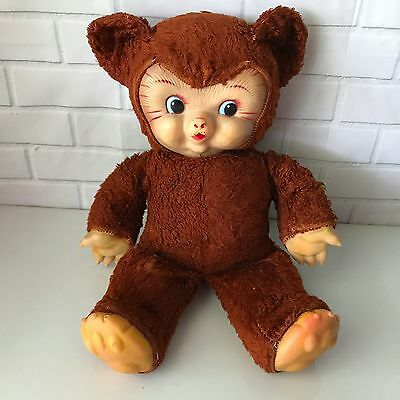 VTG Boopsy Growler Bear GUND Rubber Face & Claws 1950's Stuffed Animal Toy