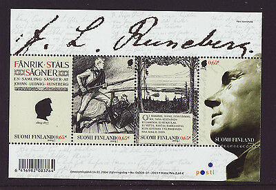Finland 2004 MNH - J.L. Runeberg - Poet - m/sheet with 4 stamps