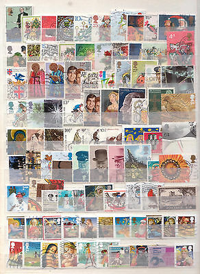 Selection of 90 Different British Decimal + Pre Dec Coms Used Postage Stamps