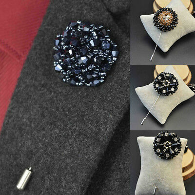 Women/Men Luxury Crystal Beaded Flower Stick Brooch Pin Rhinestone Jewelry Lapel