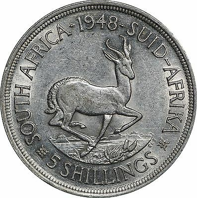 1948 South Africa 5 Shillings, Lustrous XF to AU