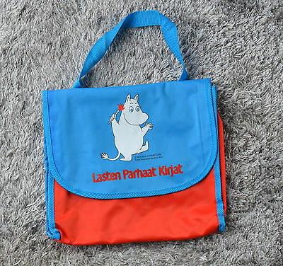 MOOMIN Kids Bag Tote Handbag Blue Red Limited Edition for Finnish Book Club