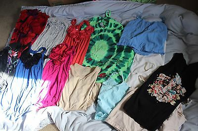 LOT OF 17 SUMMER Clothes SIZE Medium Large ITEMS TOPS, SKIRT, FLORAL PRINT DRESS