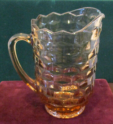 """Vintage Heavy 1/4"""" Thick Jeanette Pink Water Pitcher Depression Glass Cubist Pat"""