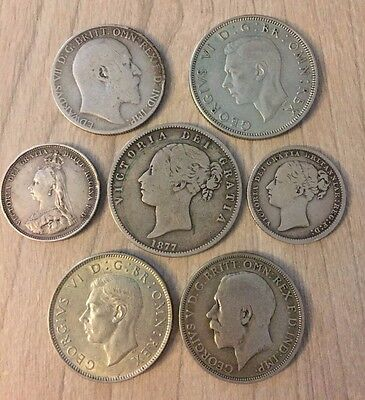 British silver coins from 1877 to 1945