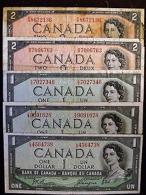 1954 $1, $2 devils face bank of canada lot of 5