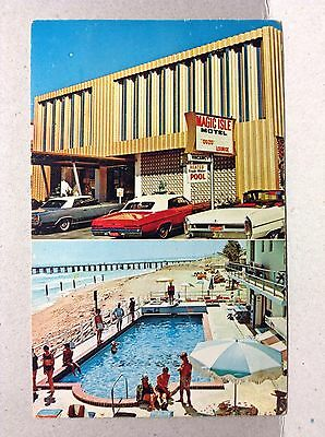 Magic Isle Motel Pool Atlantic Ocean Collins Ave Miami Beach FL Vtg Postcard