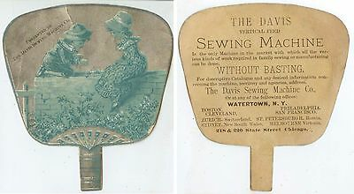 c1880s Davis Sewing Machine Co fan-shaped trade card - Watertown New York