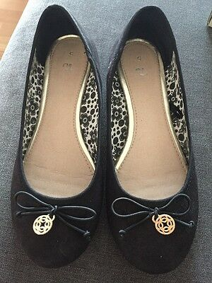 Girls Ladies Flat Black Suede Style Pumps Shoes Size 4