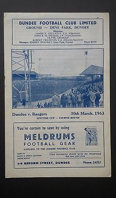 Dundee v Rangers 30th March 1963 Scottish Cup 4th Round Programme