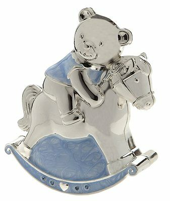 Christening Gift, Silver Plated Blue Enamelled Rocking Horse & Teddy Money Box