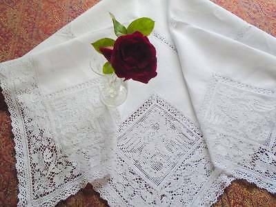 Vintage Pure Linen & Filet Lace Inlays~Quintessential English Oak~Acorns~Dragons