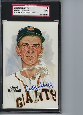 Carl Hubbell autographed signed 1980 Perez Steele Post Card Auto SGC