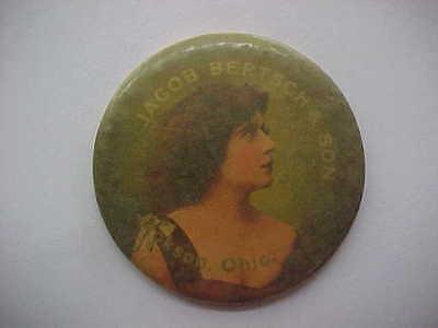 """EARLY CELLULOID POCKET MIRROR - Jackson, Oh. - """"Jacob Bertsch"""" - 1900 - Pose #1"""