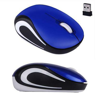 Cute Mini 2.4 GHz Wireless Optical Mouse Mice For PC Laptop Notebook Blue