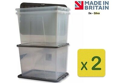 2 x Clear Plastic Storage Box 80 LTR Boxes Extra Large Container & Lid