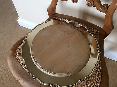 Antique Silver Plated Tray With Wood Inset Sheffield