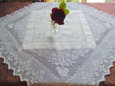 Antique Victorian White Linen & Deep Crochet Lace Tablecloth~Embroidered Eyelets