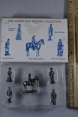 SET 5 Americana Pewter Collection AH19 miniature figurines dollhouse train NOS